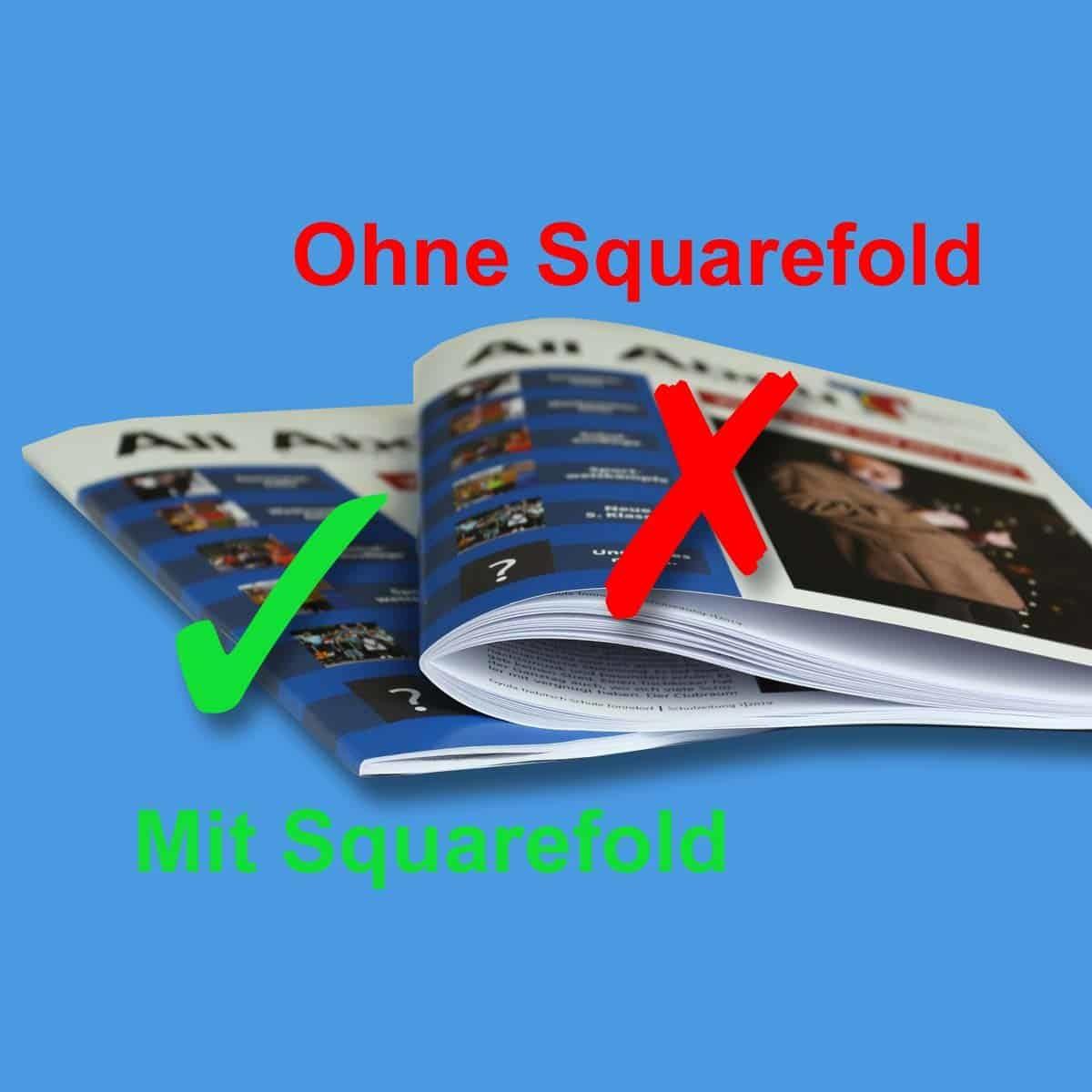 Die Broschüre mit Buchrückenfalz oder auch Squarefold hat eine bessere Optik und liegt auch flacher.